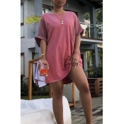 Lovely Casual Patchwork Pink Knee LengthDress