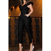 Lovely Work Flounce Design Black One-piece Jumpsui