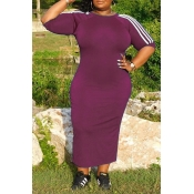 Lovely Casual Patchwork Purple Mid Calf Plus Size
