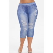 Lovely Casual Broken Holes Blue Plus Size Pants