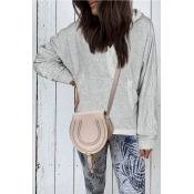 Lovely Hooded Collar Pocket Patched Grey Hoodies