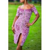 Lovely Trendy Zipper Design Purple Knee Length Dre