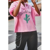 Lovely Casual Hooded Collar Printed Pink Hoodies