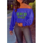 Lovely Casual Letter Printed Blue Sweatshirt Hoodi
