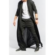Lovely Trendy Black Long Trench Coats