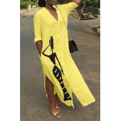 Lovely Casual Printed Slit Yellow Ankle Length Dress