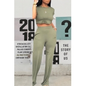 Lovely Casual O Neck Pockets Design Light Green Two-piece Pants Set