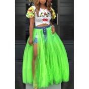 Lovely Trendy Patchwork Green Skirt