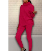 Lovely Casual Turtleneck Wine Red Two-piece Pants