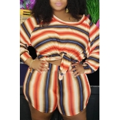 Lovely Casual O Neck Striped Printed Orange Plus S