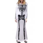 Lovely Trendy Skull Printed White Ankle Length Dre