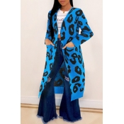 Lovely Leisure Leopard Blue Cardigans