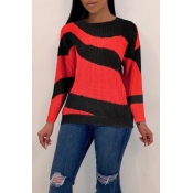 Lovely Leisure Striped Red Sweaters