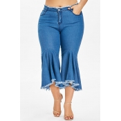 Lovely Casual Flounce Design Baby Blue Plus Size J