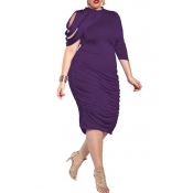 Lovely Trendy Ruffle Design Purple Knee Length Plu