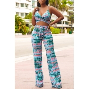 Lovely Casual Sleeveless Printed Green Two-piece P