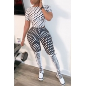 Lovely Trendy Dot Printed Black Two-piece Pants Se