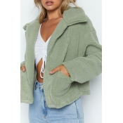 Lovely Casual Turndown Collar Zipper Design Green