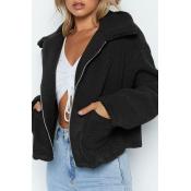 Lovely Casual Turndown Collar Zipper Design Black Coat