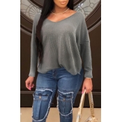 Lovely Leisure Loose Grey Sweaters