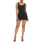 Lovely Casual Buttons Decorative Black One-piece R