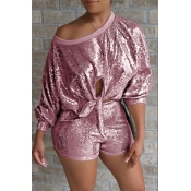 Lovely Casual Sequined Decorative Pink Two-piece S