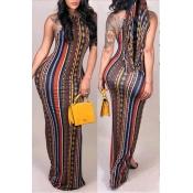 Lovely Trendy Sleeveless Striped Multicolor Floor