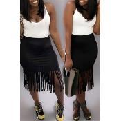 Lovely Sweet Tassel Design Black Mid Calf Skirt