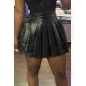 Lovely Sweet Ruffle Design Black Mini Skirt