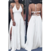 Lovely Trendy Spaghetti Straps White Floor Length