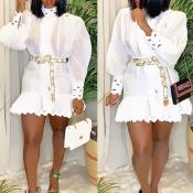 Lovely Party Mandarin Collar Flounce Design White