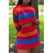 Lovely Casual Striped Multicolor Two-piece Skirt S