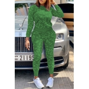 Lovely Casual Printed Army Green Two-piece Pants Set