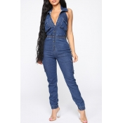 Lovely Casual Sleeveless Deep Blue One-piece Jumps