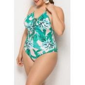 Lovely Printed Green One-piece Swimwear