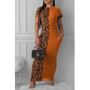 Lovely Casual Leopard Printed Patchwork Croci Ankle Length Dress