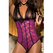 Lovely Sexy Lace Patchwork Skinny Purple Teddies