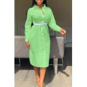 Lovely Sweet Turndown Collar Buttons Design Green Mid Calf Dress(Without Belt)