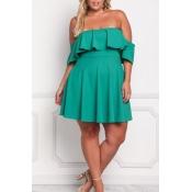 Lovely Trendy Dew Shoulder Green Plus Size Mini Dress