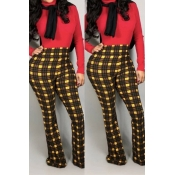 Lovely Work Plaid Printed Yellow Pants