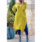 Lovely Casual V Neck Side Slit Design Yellow Blous