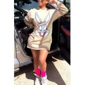 Lovely Casual Hooded Collar Beige Mini Dress