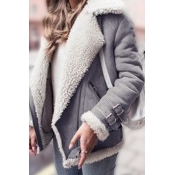 Lovely Casual Patchwork Grey Coat