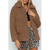 Lovely Casual Pockets Design Light Tan Coat