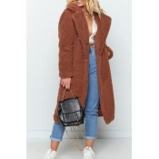 Lovely Casual Winter Long Deep Camel Coat