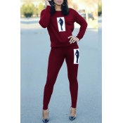 Lovely Casual Printed Wine Red Two-piece Pants Set