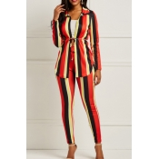 Lovely Work Striped Two-piece Pants Set(With Belt)