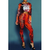 Lovely Street Hollow-out Red Two-piece Pants Set