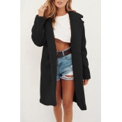 Lovely Trendy Winter Long Black Coat