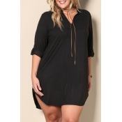 Lovely Casual V Neck Side Slit Black Mini Plus Siz